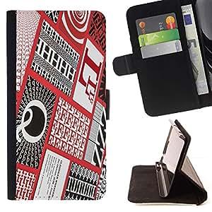 Momo Phone Case / Flip Funda de Cuero Case Cover - Cartas Caligrafía Rojo Patter a cuadros - Sony Xperia Z5 5.2 Inch (Not for Z5 Premium 5.5 Inch)