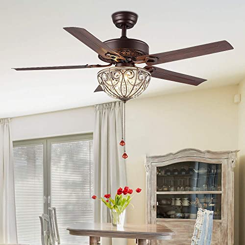 RainierLight Crystal Ceiling Fan Lamp LED Light