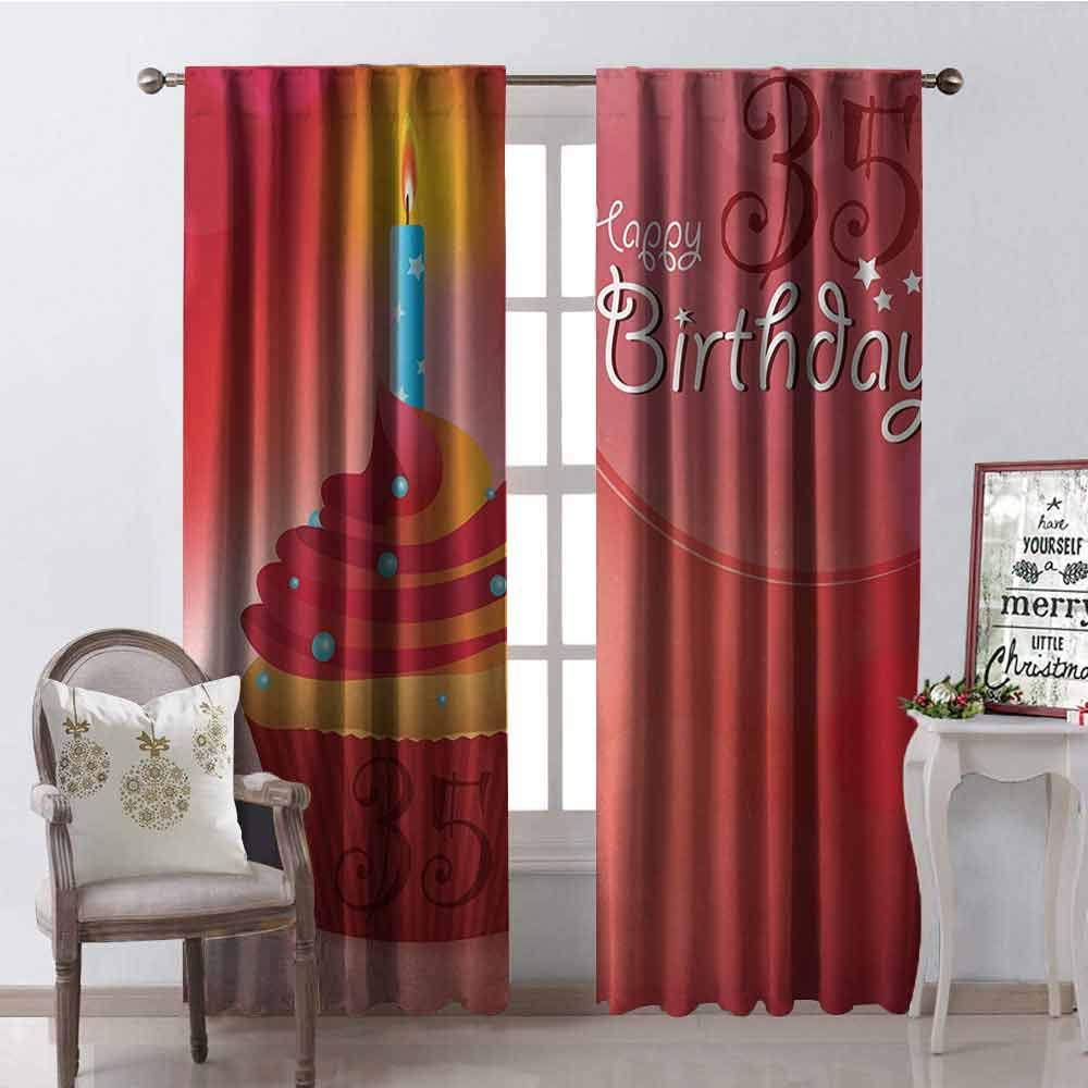 Gloria Johnson 35th Birthday Wear-Resistant Color Curtain Cute Burning Candles on a Yummy Looking Cupcake with Stars and Dots Waterproof Fabric W52 x L108 Inch Red Orange Blue by Gloria Johnson