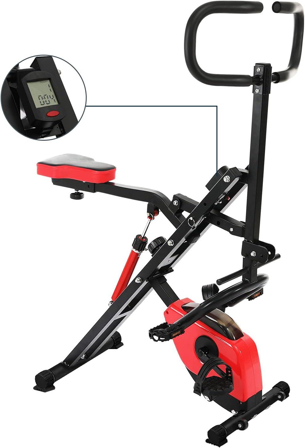 Femor Bicicleta Estática Plegable 2 en 1, Bicicleta de Fitness con Pantalla LCD, para Abdominales, Piernas, y Brazos