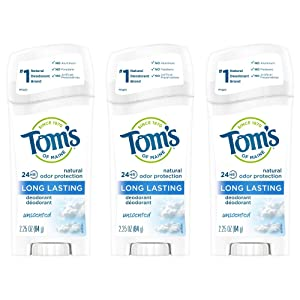 Tom's of Maine Long Lasting Deodorant, Natural Deodorant, Deodorant, Unscented, 2.25 Ounce, Pack of 3