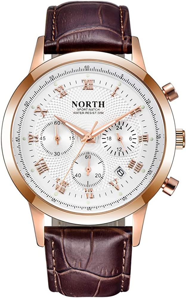 NORTH Brown Leather Mens Watch Fashion Chronograph Sports Men Wrist Watches Casual Waterproof Military Wristwatch for Men Stainless Steel with Date Gold