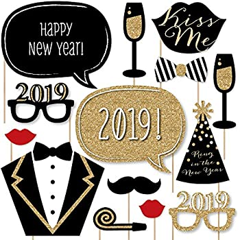 new years eve party gold 2019 new years photo booth props kit 20 count
