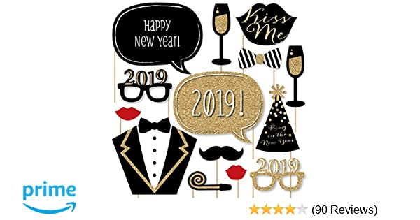 amazoncom new years eve party gold 2019 new years photo booth props kit 20 count toys games