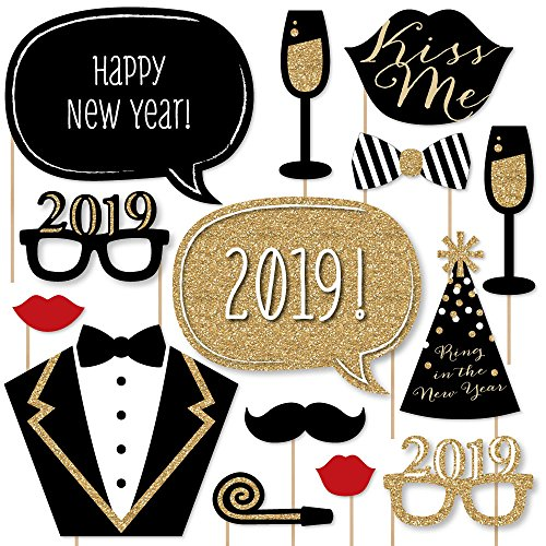 New Years Eve Party - Gold - 2019 New Years Photo Booth Props Kit - 20 Count