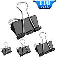 Bulldog Clips,110 Pack Binder Clips Foldback Paper Clips Assorted Size for 15mm 19mm 25mm 32mm