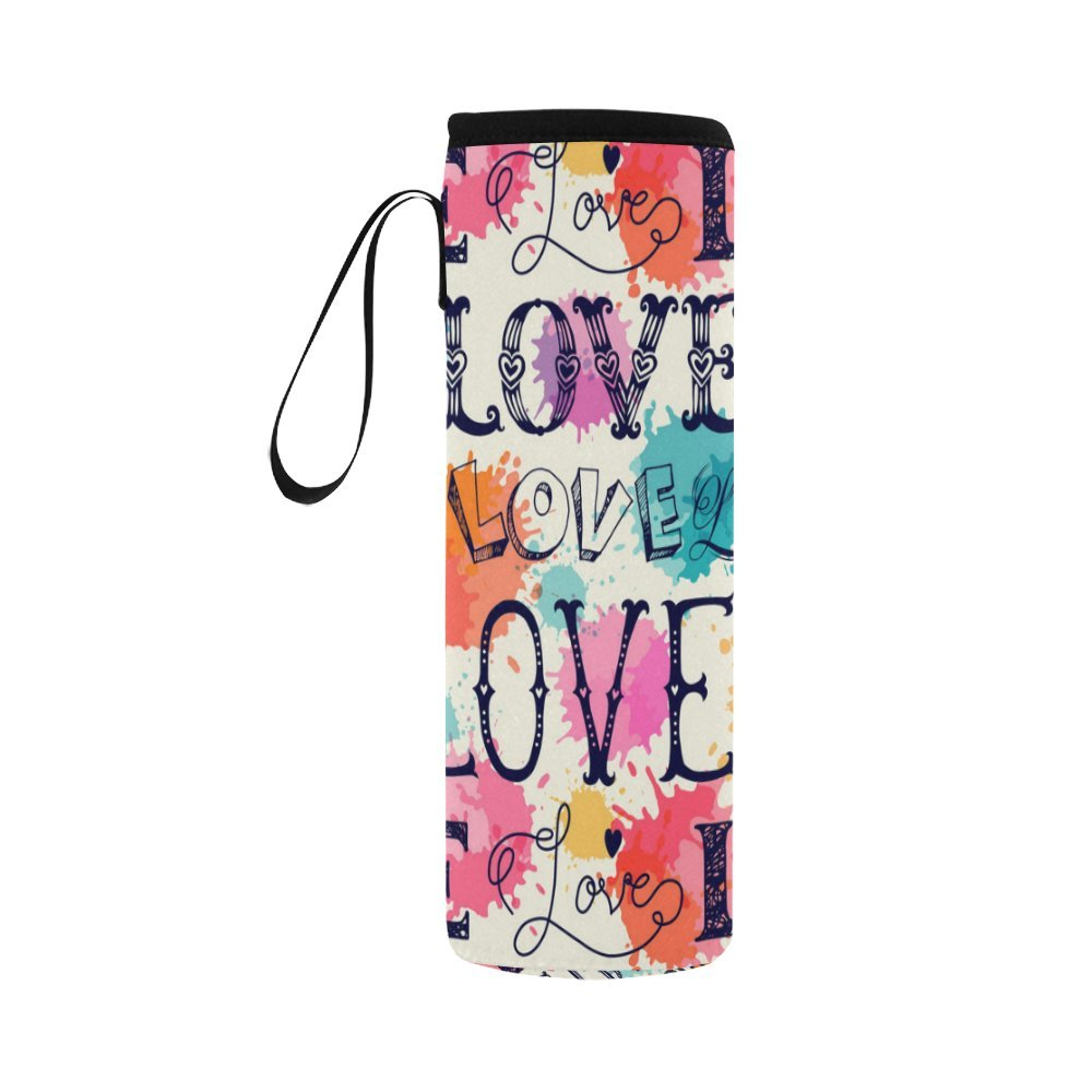 InterestPrint Watercolor Love World Neoprene Water Bottle Sleeve Insulated Holder Bag 16.90oz-21.12oz, Valentine's Day Sport Outdoor Protable Cooler Carrier Case Pouch Cover with Handle