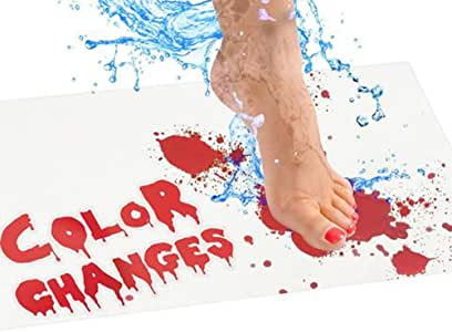 Halloween Bloody Bath Mat for Shower Bathroom, Color Changing Sheet Turns Red When Wet, Make Your Own Bleeding Footprints That Disappear White, 40 x 70cm