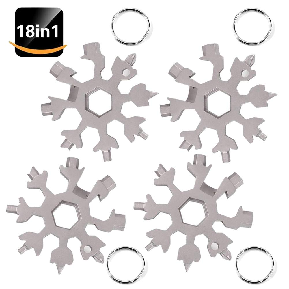18-in-1 Snowflake Multi-Tool Card,Stainless Steel Snowboarding Multi-Tool Screwdriver Tool for Opener Key Chain/Bottle Opener/Portable Outdoor Products Snowflake Tool Card/Gift for Men