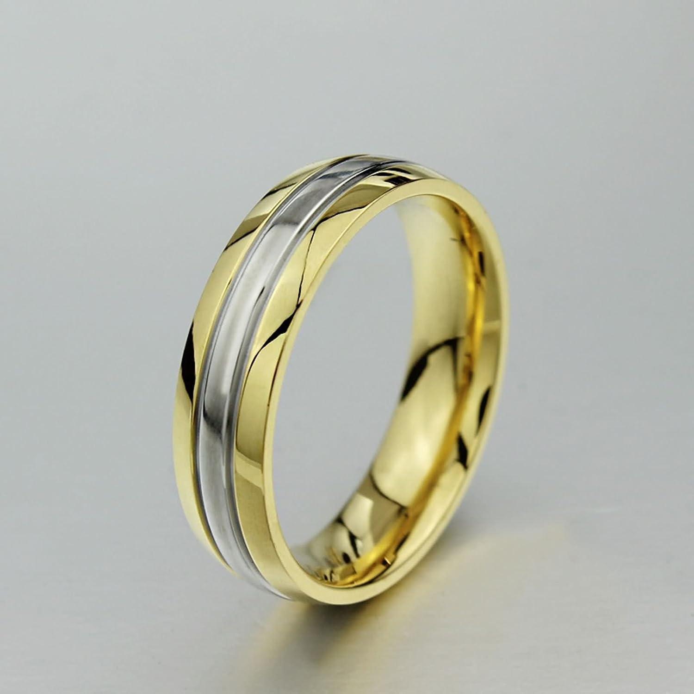 AnazoZ Alliance Homme Femme 2PCS Set Acier Inoxydable 6MM Plaqu/é Or Zirconium Couple Bague Mariage Couple