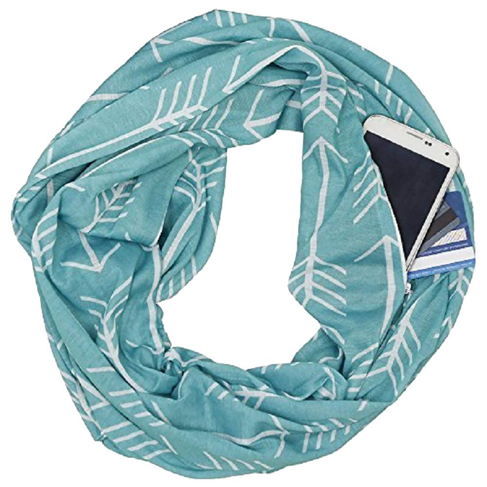 Zconmotarich Stylish Arrow Soft Warm Circular Neck Wrap Scarf with Zipper Storage Pocket - White