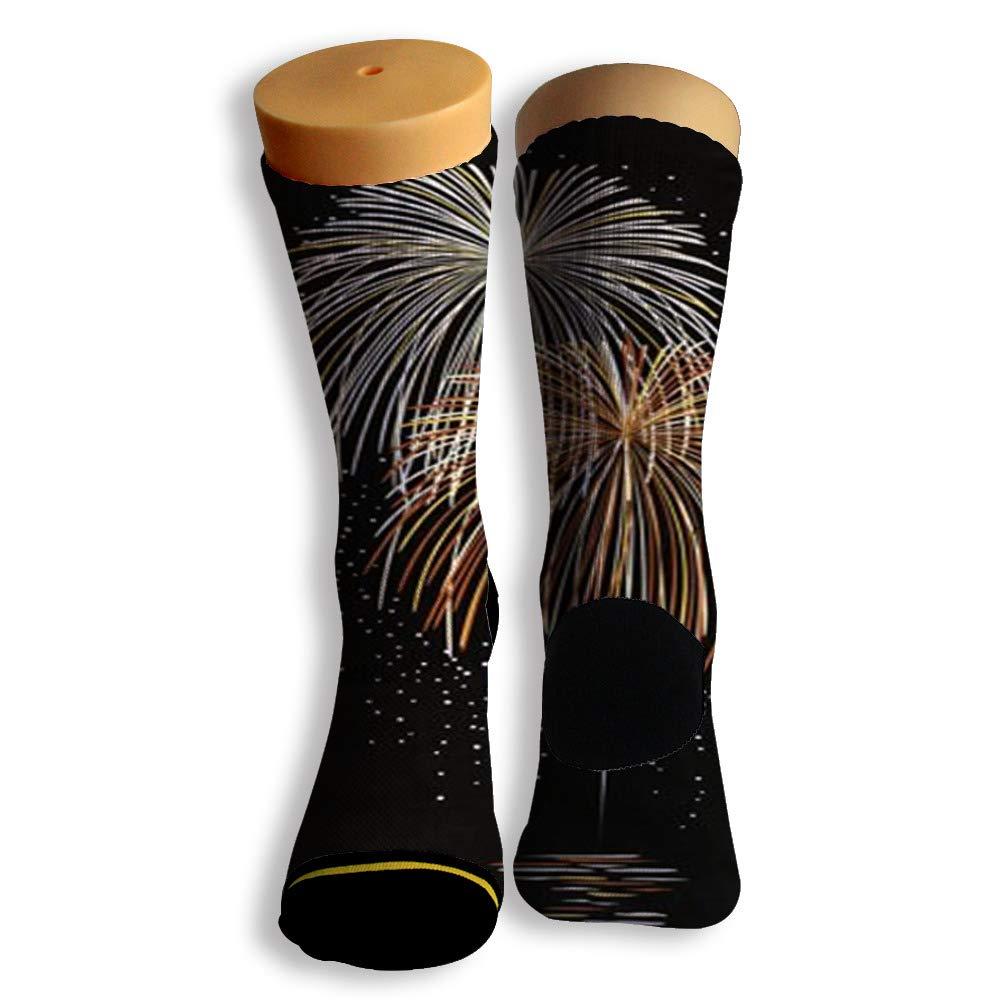 Basketball Soccer Baseball Socks by Potooy Fireworks At Sea 3D Print Cushion Athletic Crew Socks for Men Women