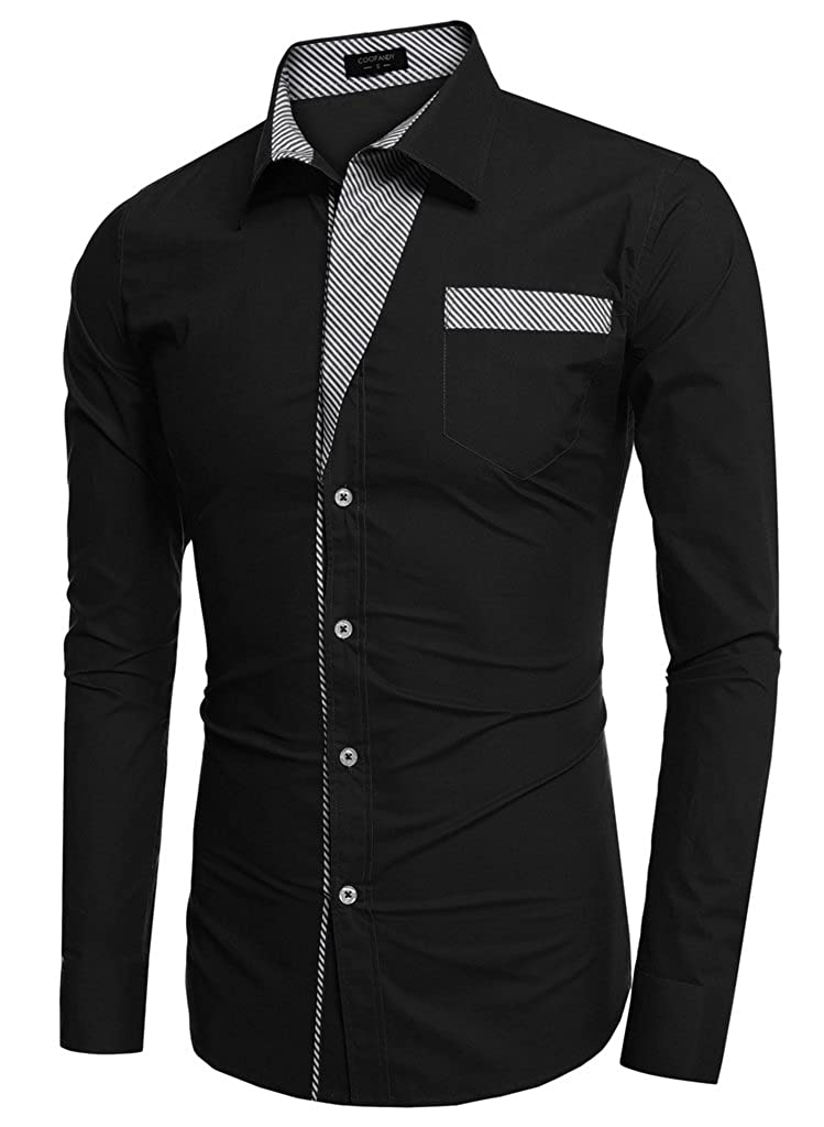 LETE Mens Long-Sleeve Contrast Button-Down Shirt