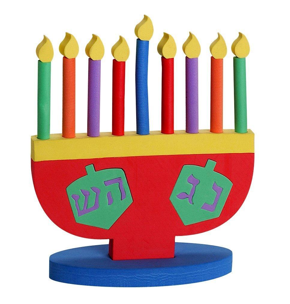 Israel Giftware Designs Hanukkah Foam Toy Menorah with Removable Candles and Dreidel Design