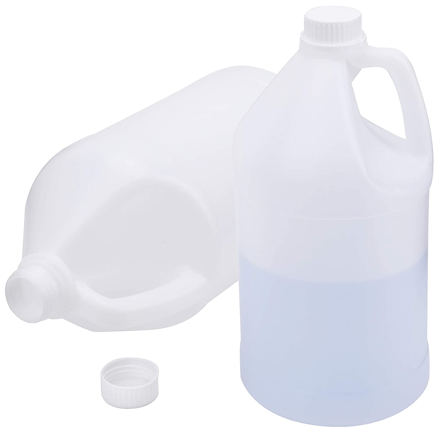 WUWEOT 2 Pack 1 Gallon HDPE Plastic Jugs, Jug with Child Resistant Airtight Lids for Home and Commercial Use, Bottle Storage Containers for Water, Soaps, Detergents, Liquids, Food Safe BPA Free