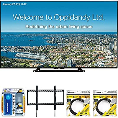 "Sharp 70"" Full HD Commercial LED-LCD TV (PN-LE701) with Xtreme TV/LCD Screen Cleaning Kit, Xtreme Ultra Slim Low Profile Flat Wall Mount for 60-100 Inch TVs &2 x 6ft High Speed HDMI Cable Black"