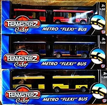 Teamsterz Die Cast Vehicle METRO City FLEXI Bendy BUS Kids Toy White Yellow Red