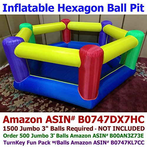 My Bouncer Hexagon Family Size Ball Pit Popper - Great for Indoor Use - 103 L x 103 W x 37 H w/ Blower Pump (This is not a Bounce House, min 1,500pcs Jumbo 3 Balls Recommended/Required)