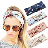 4 Pack Women Elastic Turban Head Wrap Headband Twisted Hair Band Cute Hair Accessories H1 (4 Color Pack B)