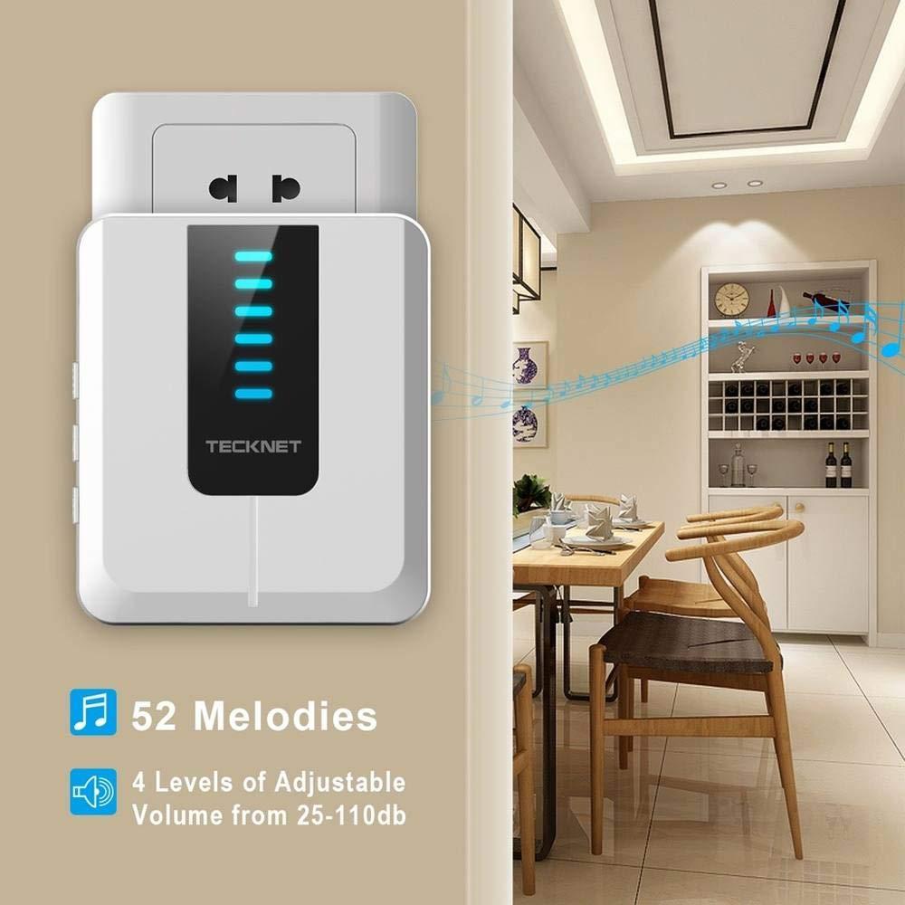 blanc Jusqu/à 300/m/ètres R/écepteur sans fil pour prise de courant avec 52/M/élodies. TeckNet Kit sonnette /émetteur r/écepteur