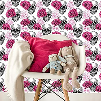 Removable Wallpaper Mural Peel & Stick Skull and Roses (25W x 100H Inches)