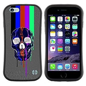 """Pulsar iFace Series Tpu silicona Carcasa Funda Case para Apple iPhone 6 / 6S (4.7 INCH) , Líneas del patrón del arco iris Tv Cráneo gris"""""""