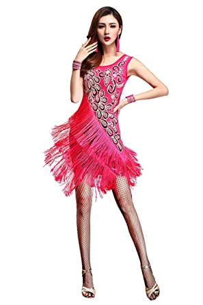 599fff71c903 ZX Dancewear Women 1920s Gatsby Sequin Embellished Fringed Flapper Latin  Dress Medium Fuchsia