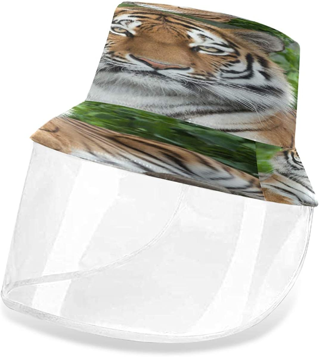ALARGE - Gorro de pescador con diseño de tigre africano, antipolvo, sol, UV, con máscara de protección facial extraíble, para hombres y mujeres al aire libre