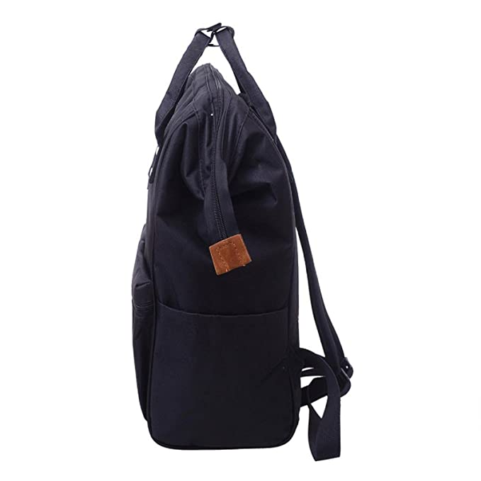 Amazon.com | Owill Unisex Solid Color Living Travelling Share Nylon Backpack School Travel Bag Zipper Bag (Black) | Kids Backpacks