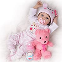 Justtoyou Reborn Baby Dolls Girl Look Real Silicone Vinyl Pink Outfit 22 Inches