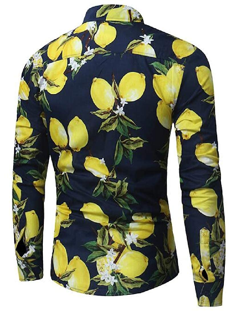 Domple Mens Shirts Printing Button Up Casual Long Sleeve Loose Shirt Top