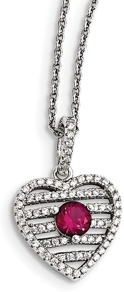 Sterling Silver Pink CZ Brilliant Embers Heart Necklace18 Inches