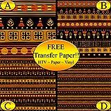 Black African Pattern Printed Heat Transfer Vinyl (Style C - 12 x 24)