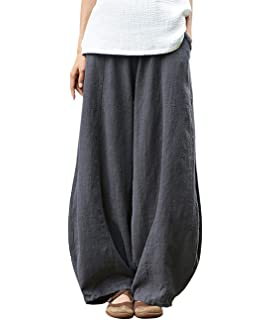 f1649dd7b39c IXIMO Women's Casual Cotton Linen Baggy Pants with Elastic Waist Pleated  Tapered Capri Trousers with Pockets