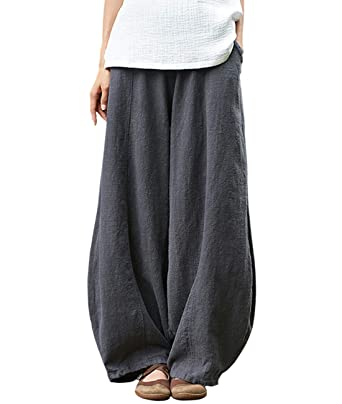 402e8e5b94 IXIMO Women's Cotton Linen Wide Leg Pants with Elastic Waist Baggy Long  Bloomers Trousers with Pockets