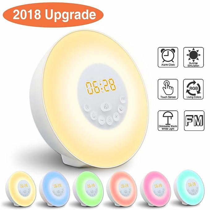 37 opinioni per Wake-Up Light, GLIME Sveglia Luce 7 LED Colori Modalità Snooze con