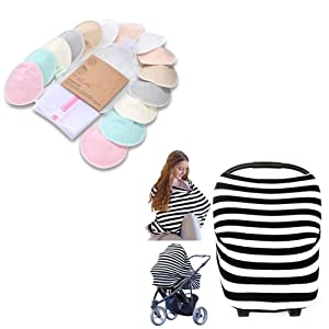 Nursing Pads and Nursing Multi-Use Cover - Maternity Essential - Carseat Canopy & Breastfeeding Cover - Washable Covers for Breast Feeding