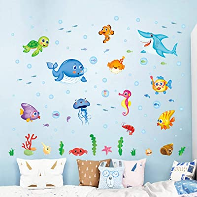 Vacally Colorful Wall Stickers Wall Decor Wallpaper Fish Shark Ocean Vinyl Decal Mural Kid's Room Bedroom Decor: Pet Supplies