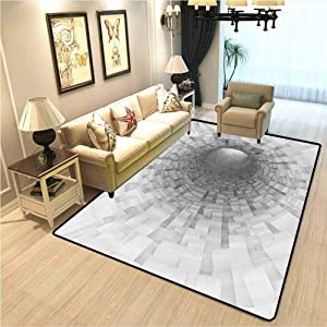Outer Space Floor mat for Office Chair Carpet Turning Tunnel Inside Endless Hole Magnetic Field Deep in The Space Digital Artwork Vintage Traditional Area Kitchen Rug Gray W4xL6 Ft