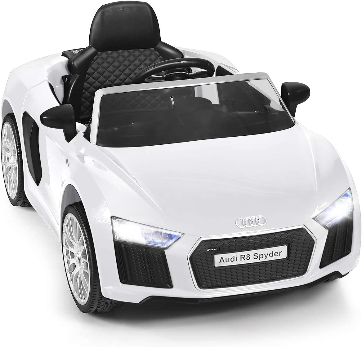 HONEY JOY Ride On Car, 12V Licensed Audi R8 Electric Vehicle for Kids, Manual and Parental Remote Control, 3 Speeds, Double Lockable Doors, LED Lights, MP3, Music (White)