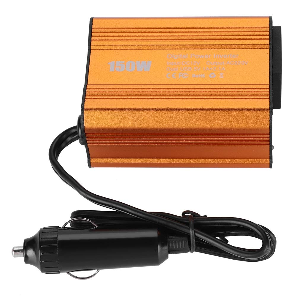 Power Inverter, 150W Dual USB DC12V to AC110V Electronics Devices Inverter Multi-Level Protections Pure Sine Wave Inverter Semme