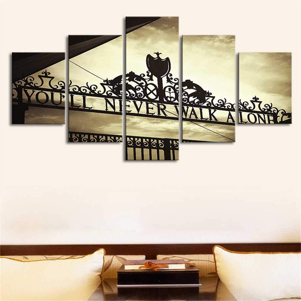 Arte De La Pared Pintura 5 Panel Anfield Stadium Artwork HD Pinturas Sobre Lienzo De Pared para El Hogar Decoraciones Murales Decorativos Impermeables,10x15*210x20*210x25*1