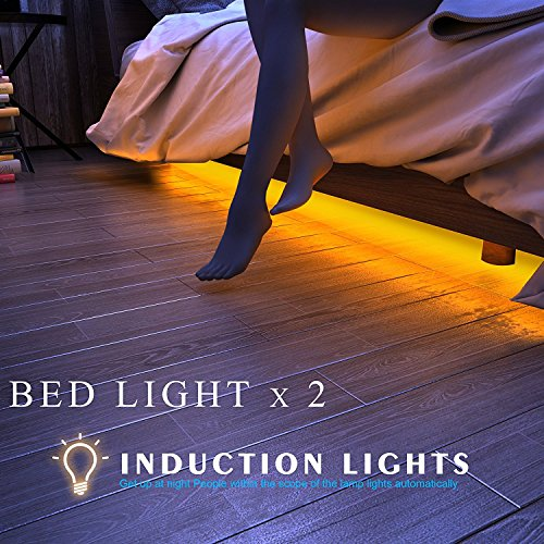 Cheapest Price! HONESTEAST 2-Pack Motion Activated Bed Light Warm White Illumination with Automatic ...