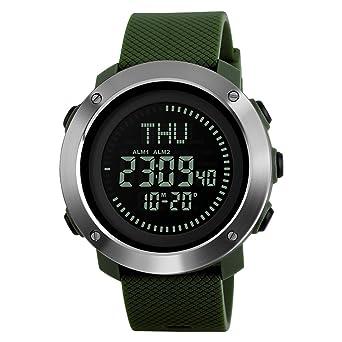 c25d30b2fa GOHUOS メンズ デジタル腕時計 防水腕時計 50メートル防水 大きい文字盤 ストップウオッチ アラーム LED バック