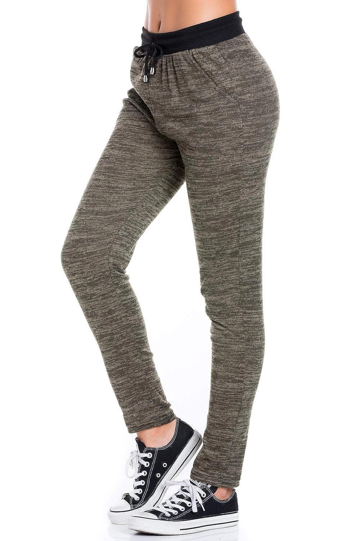 P9870olive My Yuccie Women's Super Soft Comfy Print Jogger Pants with Zipper Side Pockets (S  XL)