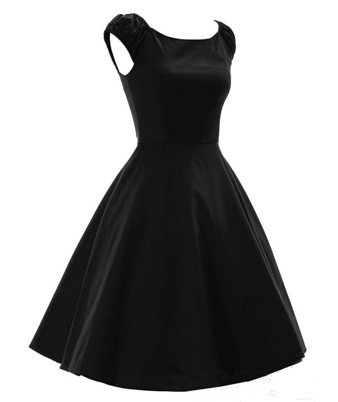 LOBTY Damen Wort Schulter Falten AbendKleider Retro Audrey Rock Gr.34-44 Dress 50er Jahre Vintage-Kleid Hepburn Knielang Puff Kleid