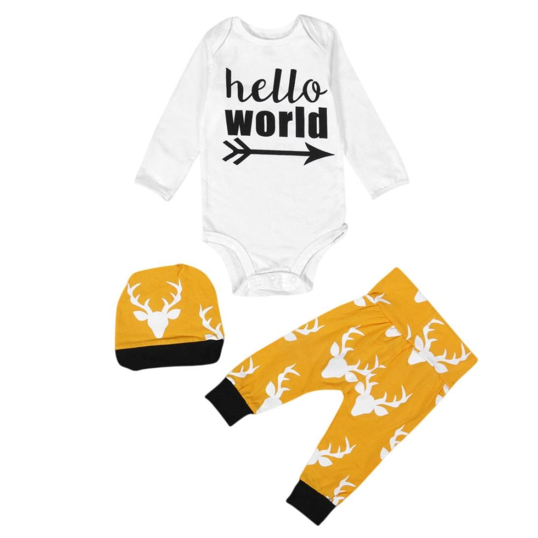 Toraway 3 Pcs//Set Baby Infant Newborn Boys Girls Clothes Romper Blouse Hat Outfit Clothes Set Long Pants