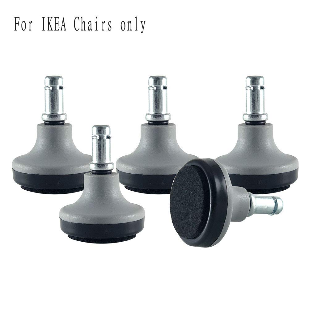Enjoy Bell Glides Replacement for Stationary Office Chair Furniture with Felt Pads Fit IKEA Chairs - Gray/Black (Set of 5) (Small) (GL-GB203750-BFP-IK)