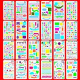 OzBSP Bullet Journal Stencil Set Plastic Planner Templates - 24 Unique Premium Quality Stencils | Scrapbooking Supplies | Notebook journaling diary Letters DIY projects art drawing | A5 size 4x7 inch