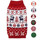 #8: Blueberry Pet 6 Patterns Vintage Ugly Christmas Reindeer Holiday Festive Pullover Dog Sweater in Tango Red & Navy Blue, Back Length 14